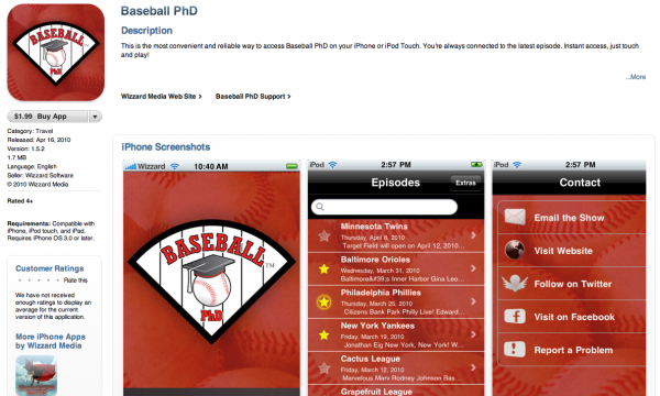 Baseball PhD iPhone App as it appears in the iTunes store.