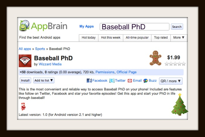 Baseball PhD Androit App is Out!